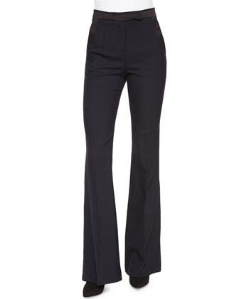 Long-Sleeve Hybrid Knit Top & Lana Wool High-Waist Flared Pants