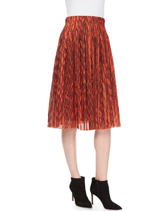 Leaf-Print Plisse Skirt, Orange