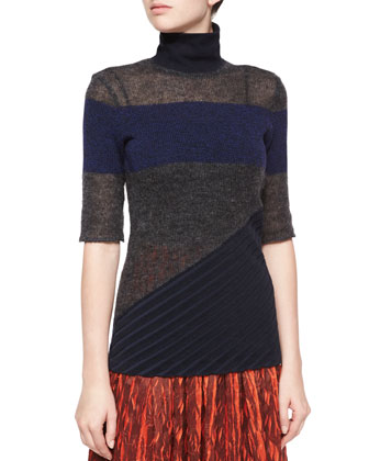 Asymmetric Panel Knit Sweater & Leaf-Print Plisse Skirt