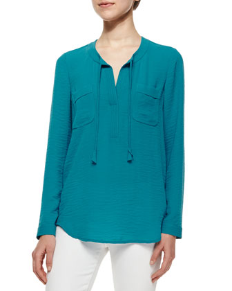 Sofia Tie-Neck Top, Azurite