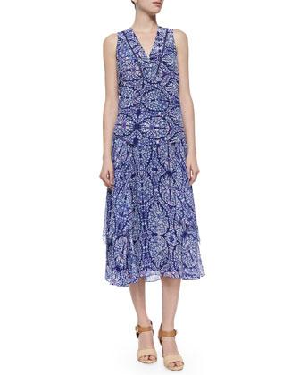 Mixed-Print Layered Midi Skirt, Indigo Combo