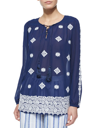 Embellished Drawstring Tunic Top