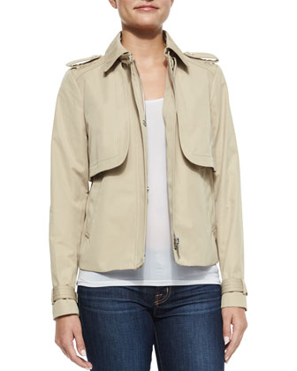 Cropped Sateen Trench Coat