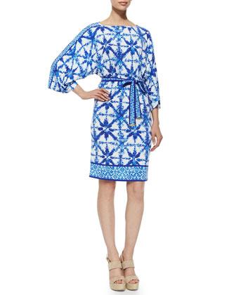 Glazed Tile-Print Jersey Dress