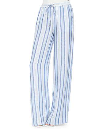 Wide-Leg Striped Linen Pants