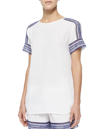 Short-Sleeve Tee W/ Embroidered Trim