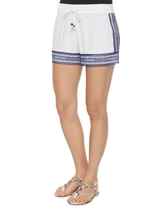 Drawstring-Waist Cutout Embroidered Shorts