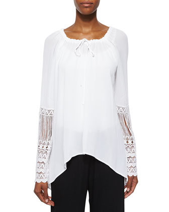 St. Barts Tunic W/ Crochet Sleeves