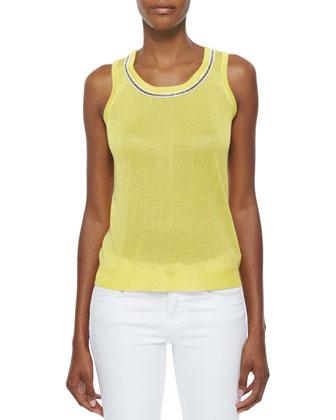 Bead-Trim Shell, Yellow, Women's
