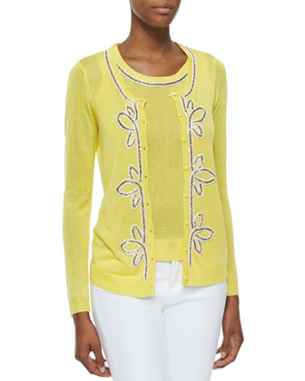 Button-Front Cardigan with Bead Trim, Yellow, Petite