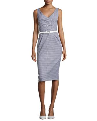 Faux-Wrap Sheath Dress, Optic White/Indigo