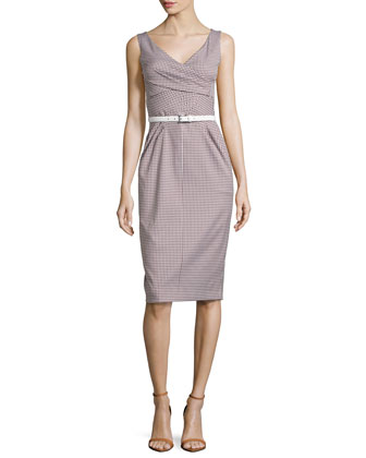 Faux-Wrap Sheath Dress, Optic White/Nutmeg