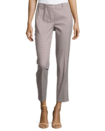 Samantha Check-Print Skinny Pants, Optic White/Nutmeg