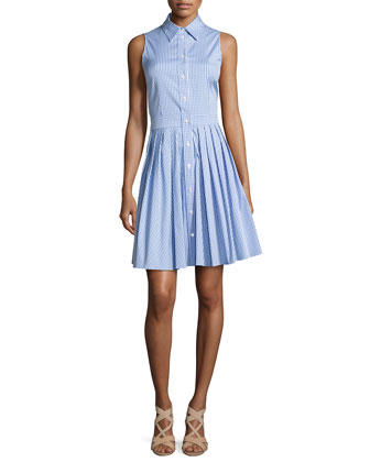 Sleeveless Check Shirtdress, Optic White/Oxford