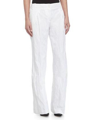Cuffed Wide-Leg Pants, Optic White