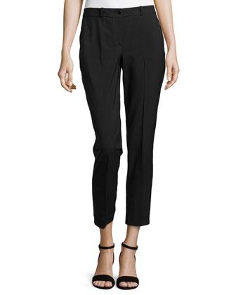 Samantha Shantung Skinny Pants, Black