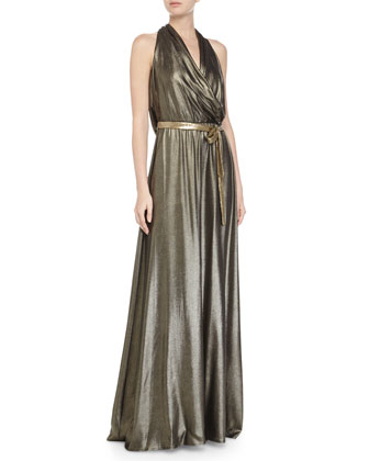 Sleeveless Metallic Evening Gown, Gold