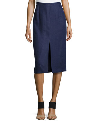 Front-Slit Pencil Skirt, Indigo