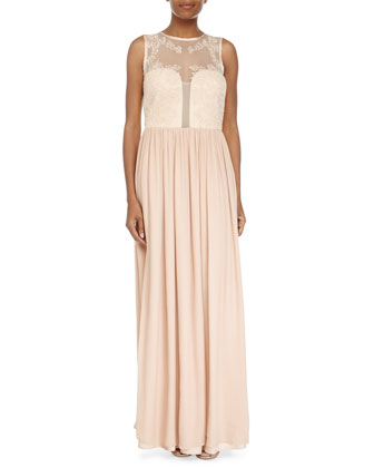 Sleeveless Delicate Rose Gown, Blush