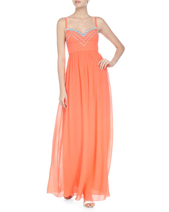 Sleeveless Embroidered Maxi Dress, Neon Orange