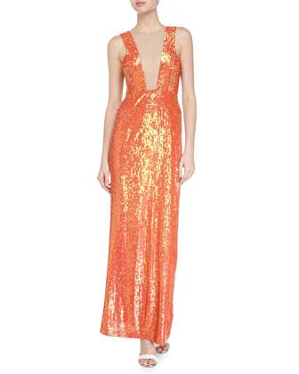 Sleeveless Sequin Maxi Dress, Neon Orange