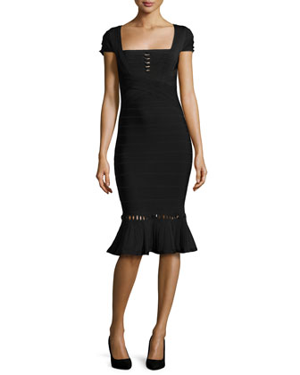 Muriel Twist-Detail Bandage Dress, Black