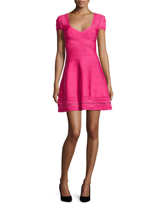Cara Braided Ottoman Crochet Bandage Dress, Bright Pink