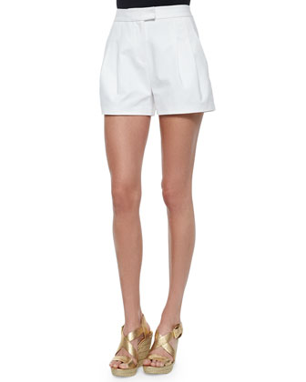 High-Waist Pleated Shorts, White