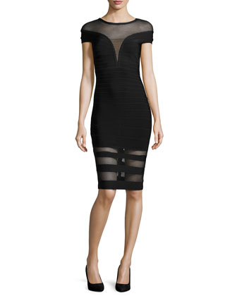 Katrina Mesh-Panel Bandage Dress, Black