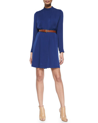 Pleated Silk Shirtdress W/ Belt