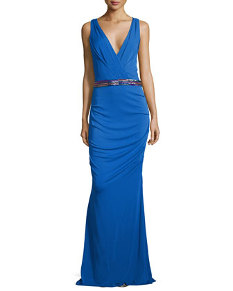 Sleeveless Embellished-Waist Gown, Classic Blue
