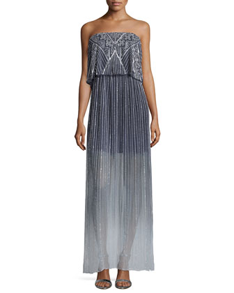 Marilla Embellished Strapless Maxi Dress, Soft Gray