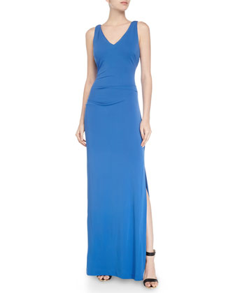 Sleeveless V-Neck Tuck Gown, Classic Blue