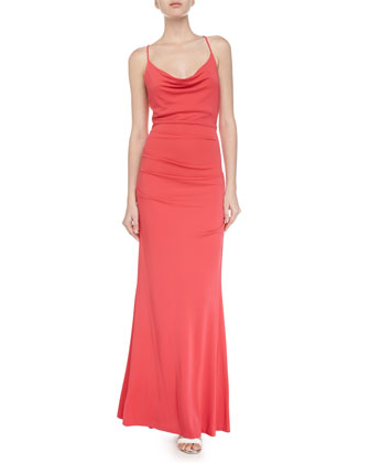 Sleeveless Cowl-Neck Gown, Candy Pink