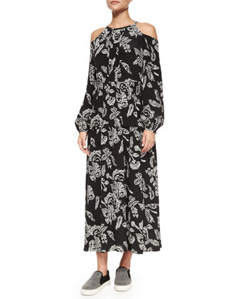 Long Floral-Print Silk Cold-Shoulder Dress