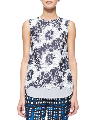 Sleeveless Lace-Front Tank