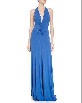 Halter-Neck Sleeveless Gown, Meridian Blue