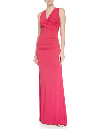 Halter-Neck Sleeveless Gown, Carnation