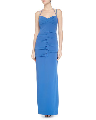 Sleeveless Tidal-Pleated Dress, Classic Blue
