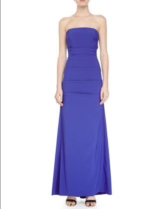 Strapless Pleated Evening Gown, Blueberry