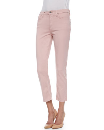 Skinny Sateen Cropped Jeans, Blush