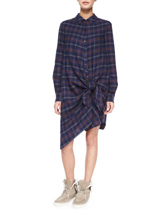 Long-Sleeve Flannel Side-Tie Dress