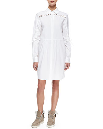 Lace-Detail Shirtdress