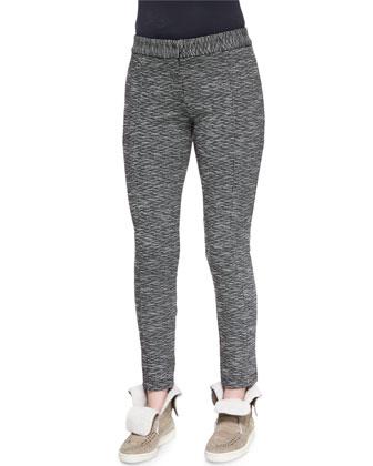 Plaid Flannel Open-Back Shirt & Stretch-Knit Slim-Leg Pants