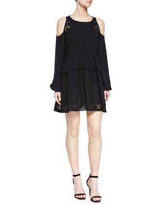 Silk Cold-Shoulder Peasant Dress, Black