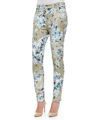 English Blossom Skinny Jeans, Green