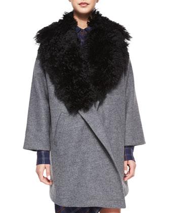 Fur-Trim Cotton-Blend Coat & Long-Sleeve Flannel Side-Tie Dress