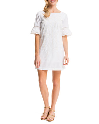 Noelle Embroidered Sheath Dress, Lily White