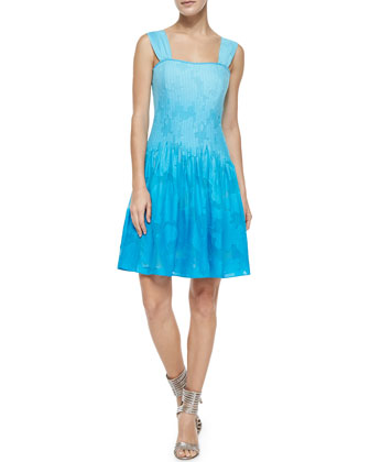 Lesly Seamed Fit-and-Full Dress, Sky Ombre