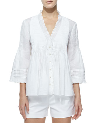 Layla Linen Ruffle-Trim Top, White